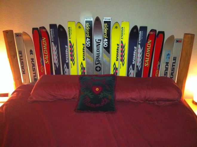The best part of the condo is the new headboard.  It was made by our good friend, Birch, a retired art teacher, with some help by Amelia.  Those skis all belonged to my brother or me.