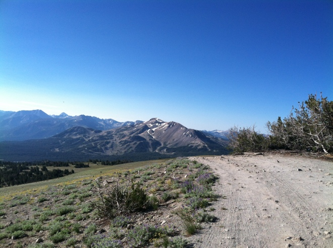 Looking back at Mammoth Mountain from the end of the road.