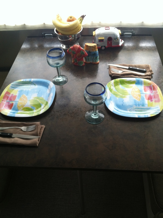 The table is set for our first meal inside.