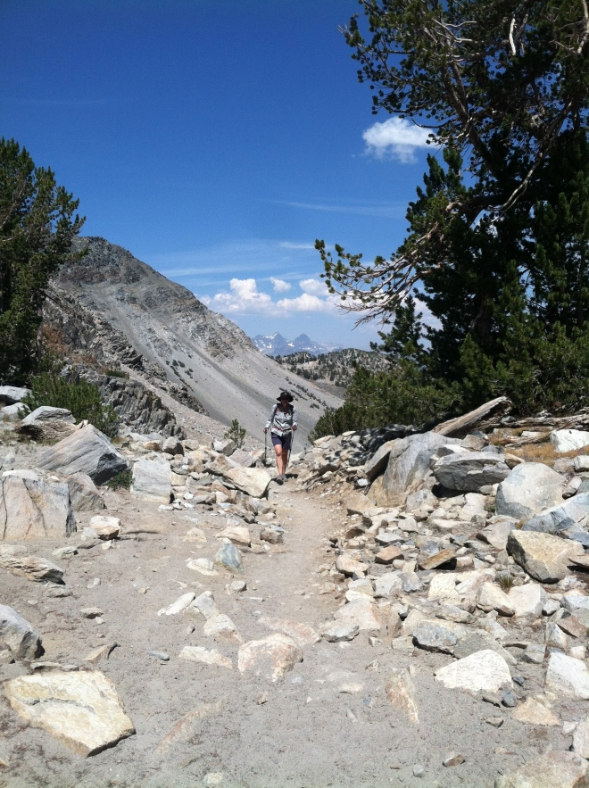 Approaching the top of Duck Pass. Mt. Ritter and Banner in the background.