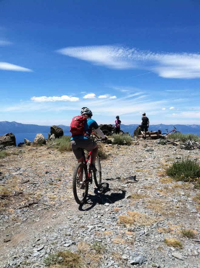 Tahoe bike trip. Amelia approaching The Bench, Chris, and Gumby. This is a great ride!