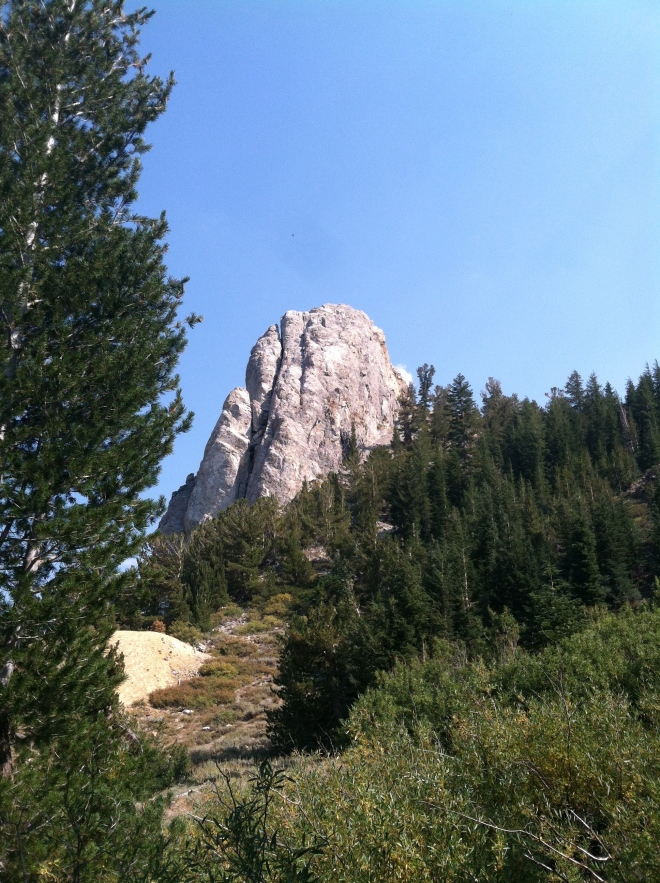 Hiking up to the back side of Mammoth Rock with the hope of climbing to the top.