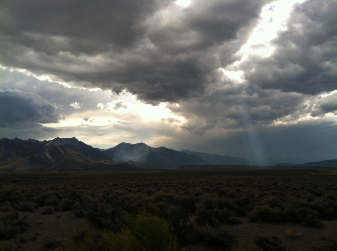 On the way to Crowley Lake.  A crazy cloudy, Rim fire smoke filled evening with beautiful sun beams.