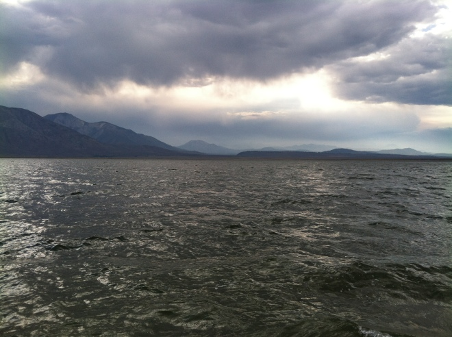 Looking across Crowley Lake towards Mammoth Mountain.