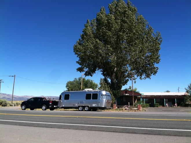 Our lunch stop. Fine dining in the Airstream in front of an abandoned motel. Across the street is the phone booth.