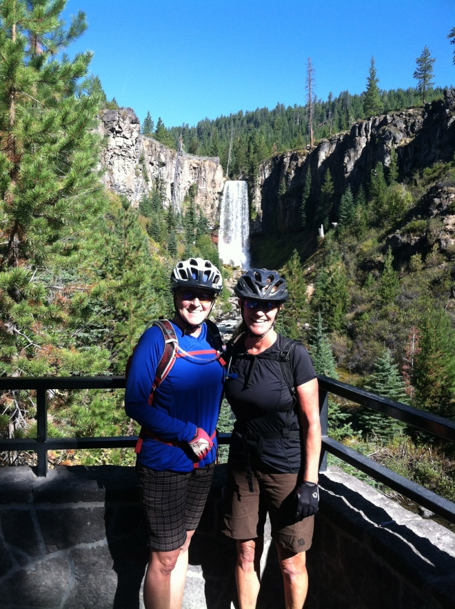 Amelia and Pat at the first of seven falls on Tumalo Creek on the Mzarek trail.