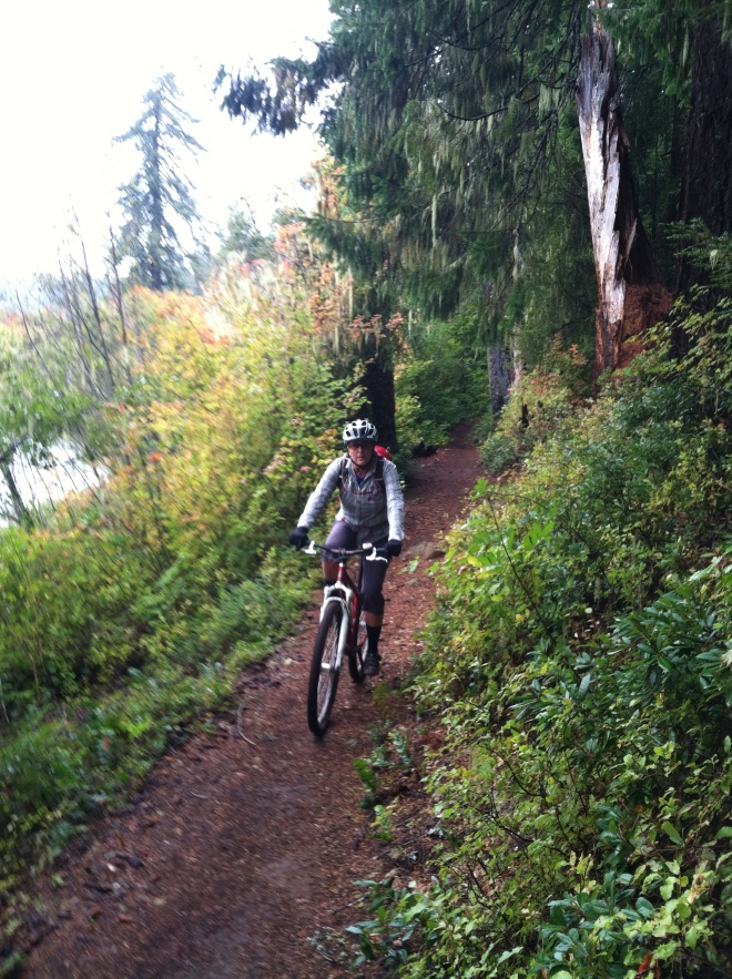 Amelia riding the McKenzie River Trail.