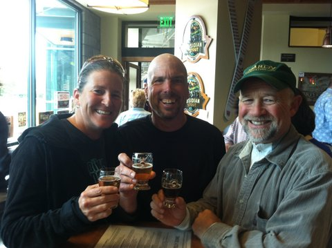 Cheerful cheers at Deschutes with Roger.