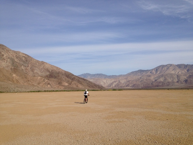 Very strange sensation, riding on the Clark Dry Lake bed.