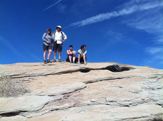 Amelia, R, Cindy, and Curtis atop one of the Truckhaven Rocks.