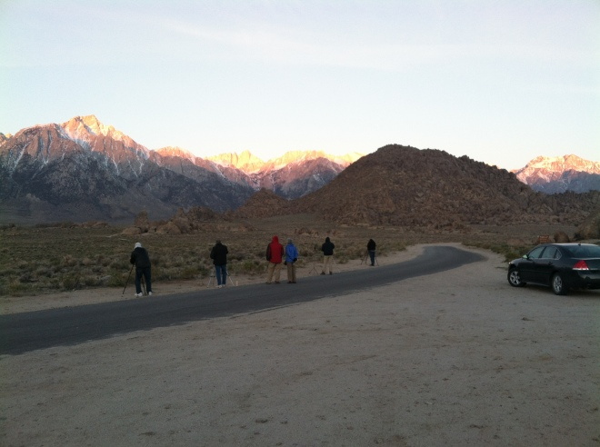 A shot of the photogs taking a shot of the morning sun hitting Mt. Whitney.