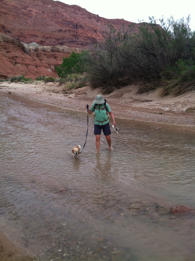 My girls crossing the Paria River.