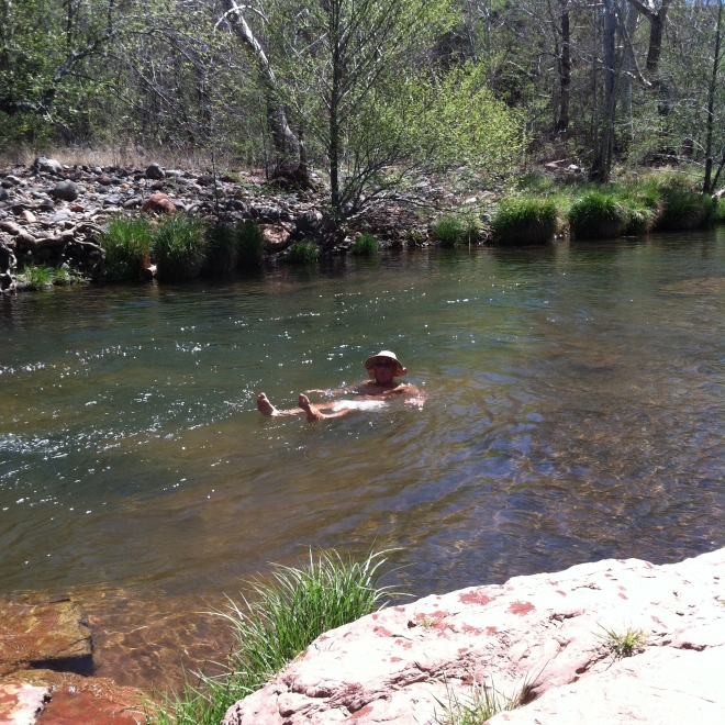 R almost naked in Oak Creek.