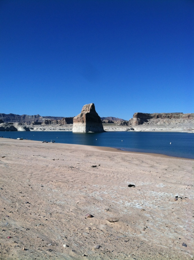 Lone Rock, Lake Powell. The water level is down 40 feet.