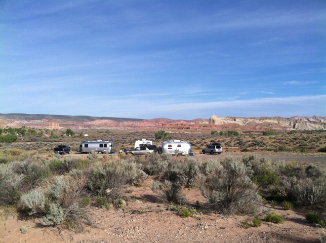The lower Gravel Pit. Two beautiful Airstreams and R with his S.O.B. (some other brand).