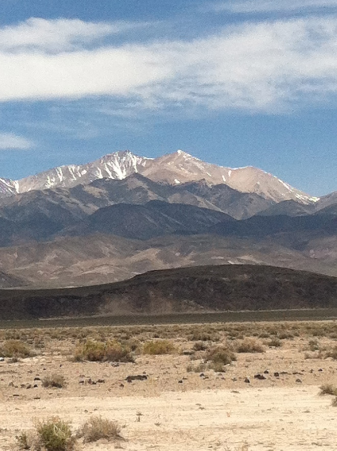Nice drive today. This is the back side of Boundary, the highest peak in Nevada. That's Boundary on the right and Montgomery on the left, which is actually in California.