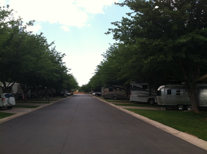 WillowWind RV Park. After the stark beauty of the Virgin River Gorge, this place felt like being in a city park. The shade really helped.