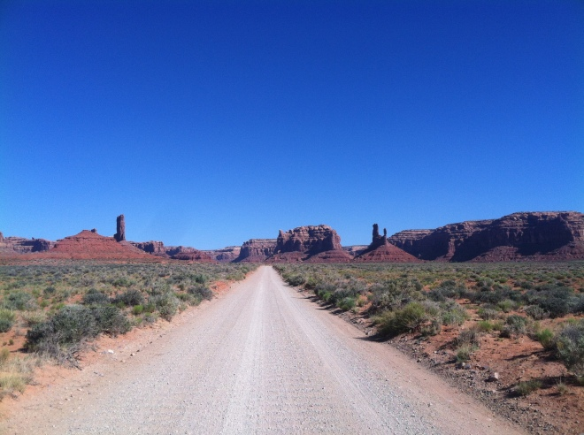 The dirt road into Valley of the Gods. What a great BLM area.