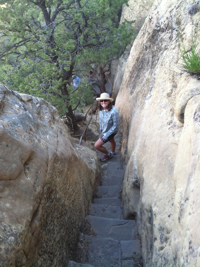 Amelia walking down to Cliff Palace. The Civilian Conservation Corps built the stairs in the 30's.