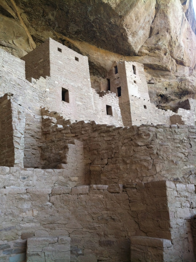 Balcony House, the second tour we took.  This one involved descending a ton of stairs, then ascending a 35 foot ladder to access the cliff dwelling.  To leave we had to crawl through a short tunnel and climb two more ladders.  Amelia really enjoyed our guide's enthusiasm and knowledge.