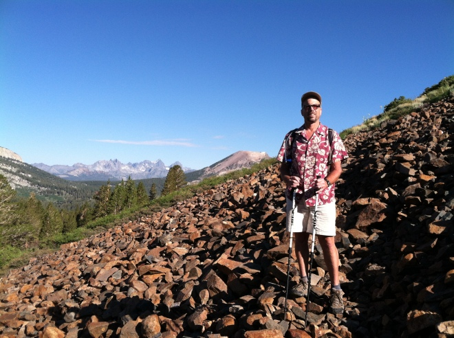Your blogger, hiking in a Hawaiian shirt! This was the first of many scree fields we crossed.