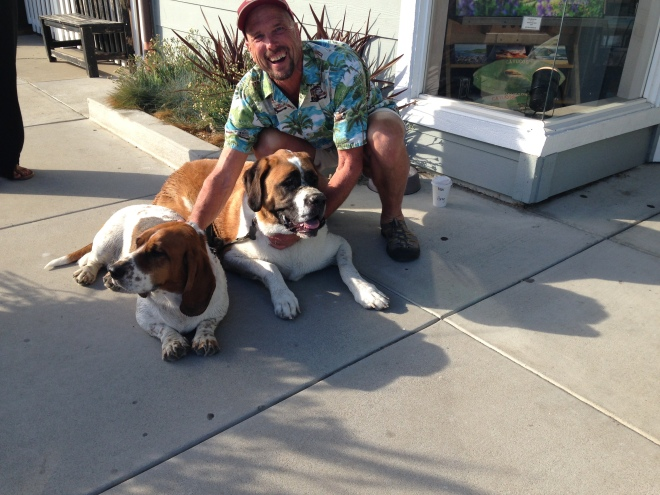 Betsy the Bassett Hound and Bagheera the St.Bernard in Cayucos. It was our second Bassett we saw that day. The story here is my brother always wanted a St. Bernard. So whenever we see one it puts a big smile on my face. What a huge treat to see the two dogs together.