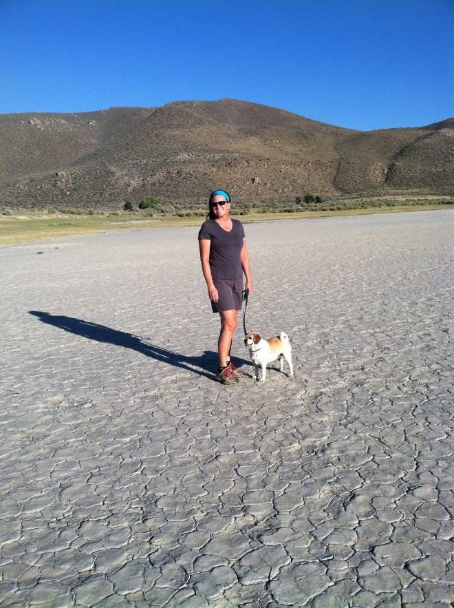 My two girls. This is a dried up pond on the walk out to Washoe Lake. Washoe is really low, but not this bad.