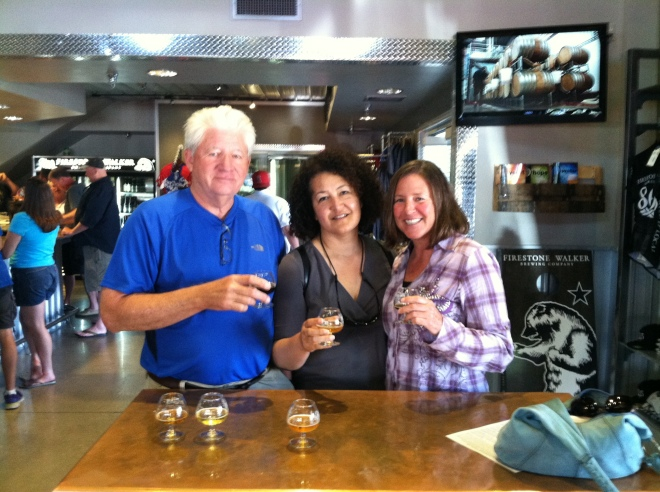 Rob, Denise, and Amelia enjoying some tasters at Firestone Walker in Paso Robles.