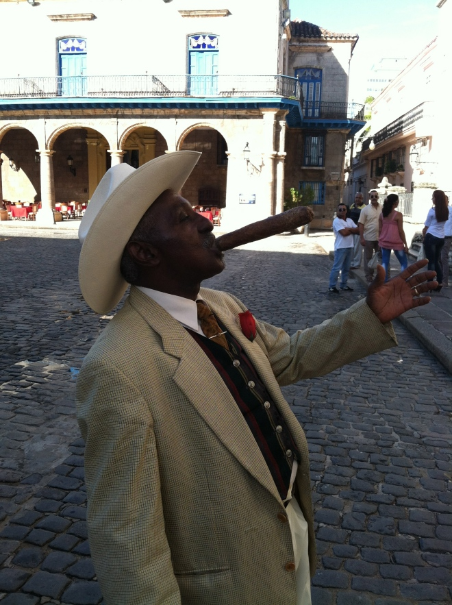The greeter in Old Havana by the Cathedral de la Havana.