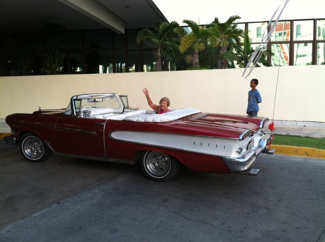 1958 Edsel Pacer. On our last evening, four classic convertible cars picked us up for dinner.