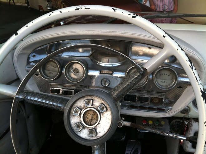The dashboard of the Edsel.