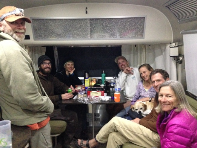 Christmas party!  We had 8 people cramed into the Airstream. From L to R, Tim, Matt, Timoni, the blogger, Chris, Mike, and Lisa.