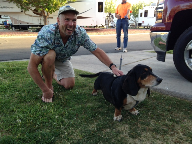 Nothing makes you laugh like a basset hound. This is Buford. Every evening he walks through the rv park and gives us love.
