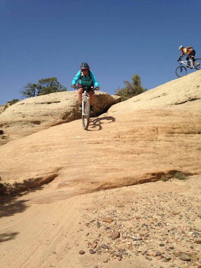 Amelia and Shelli coming down a steep section at the Goose.