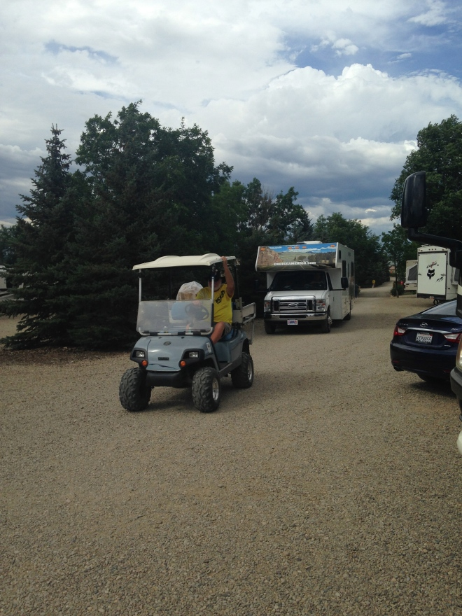 I really can't tell you why, but I get the biggest kick out of watching everyone get a golf cart escort to their site. It's like a parade every afternoon.  Different folks, different RV's, license plates from everywhere.