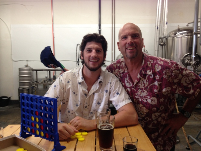 Thomas and your blogger. Enjoying a cold one at Helm's Brewing Company.