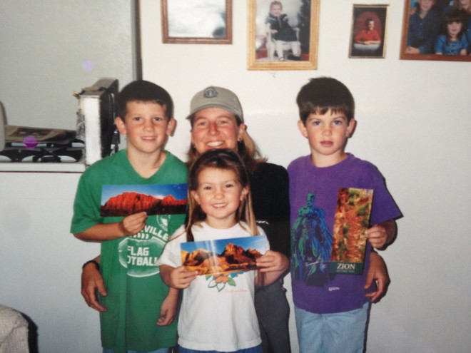 1998, Amelia with our nephews and niece. L to R, Thomas, Alex, and Chris.